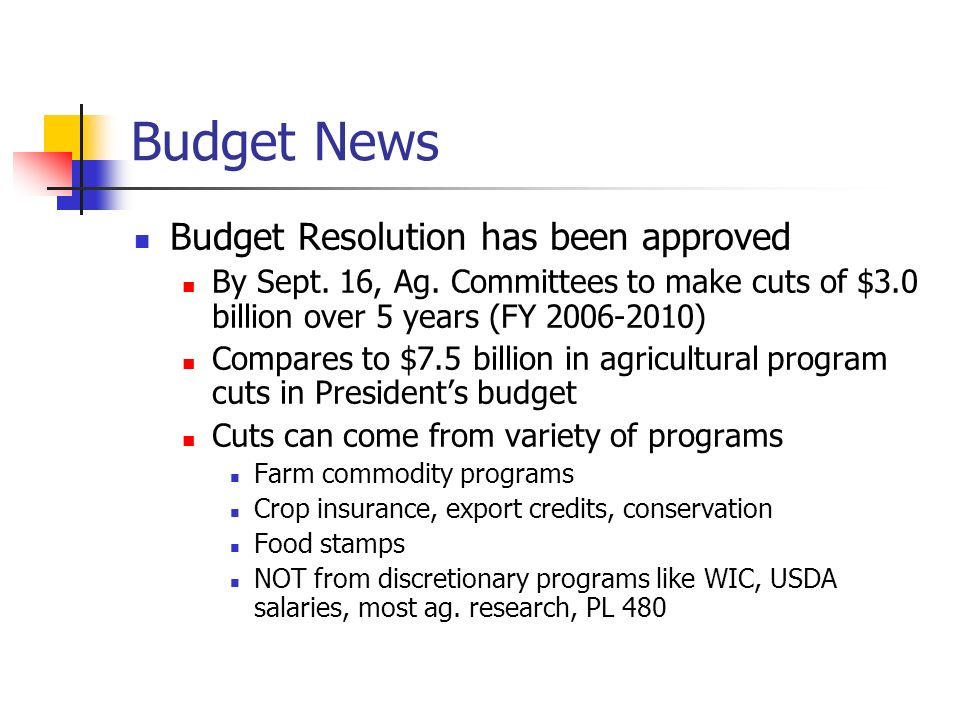 Budget News Budget Resolution has been approved By Sept.