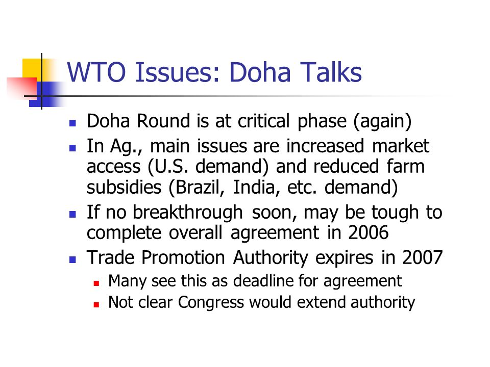 WTO Issues: Doha Talks Doha Round is at critical phase (again) In Ag., main issues are increased market access (U.S. demand) and reduced farm subsidie
