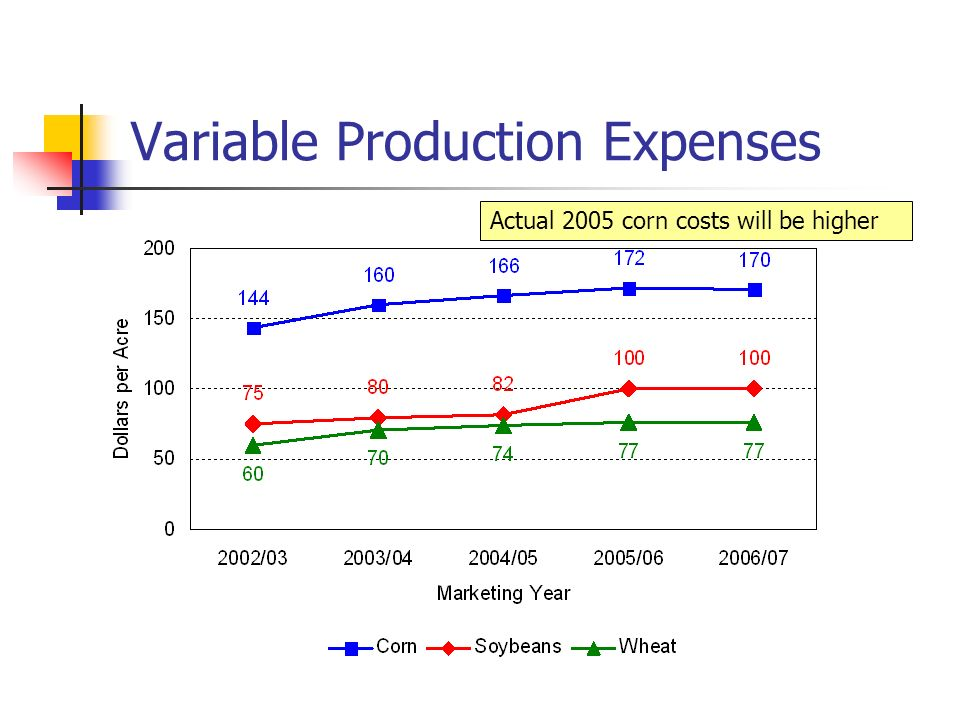 Variable Production Expenses Actual 2005 corn costs will be higher