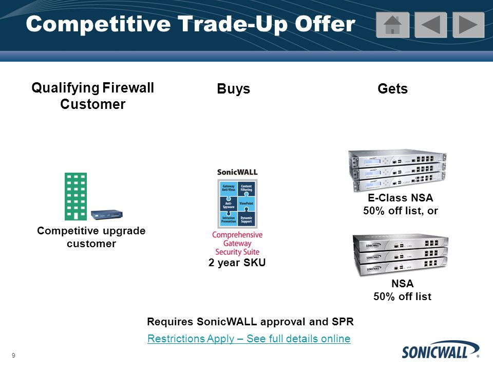 10 Competitive Trade-Up Offer Qualifying Email Security Customer BuysGets Any TotalSecure Email 2 year Subscription Competitive upgrade customer Any Email Security appliance at 50% off list Requires SonicWALL approval and SPR