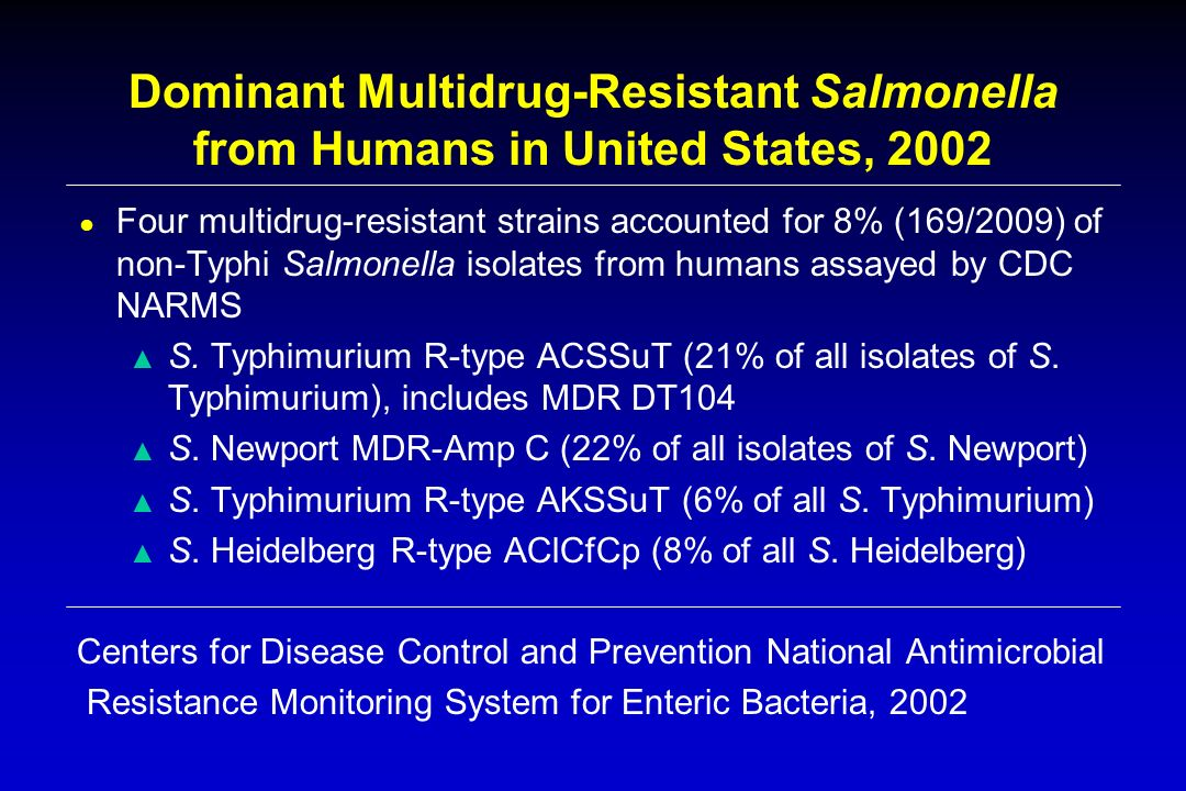 Dominant Multidrug-Resistant Salmonella from Humans in United States, 2002 Four multidrug-resistant strains accounted for 8% (169/2009) of non-Typhi Salmonella isolates from humans assayed by CDC NARMS S.