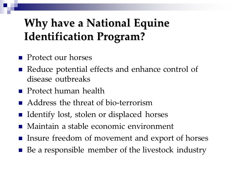 Why have a National Equine Identification Program? Protect our horses Reduce potential effects and enhance control of disease outbreaks Protect human