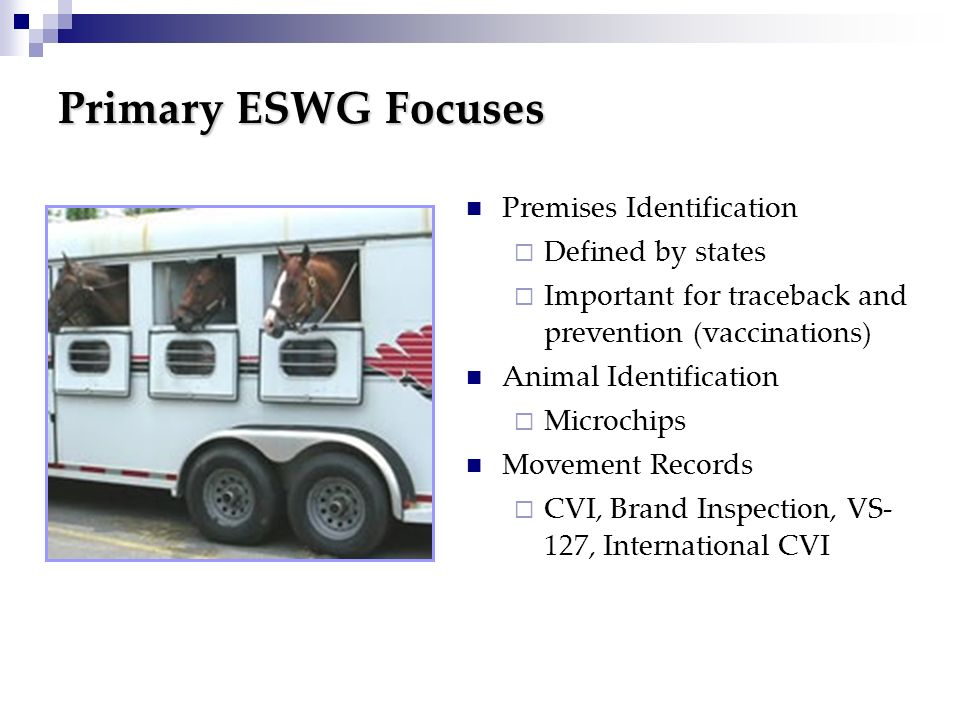 Primary ESWG Focuses Premises Identification Defined by states Important for traceback and prevention (vaccinations) Animal Identification Microchips