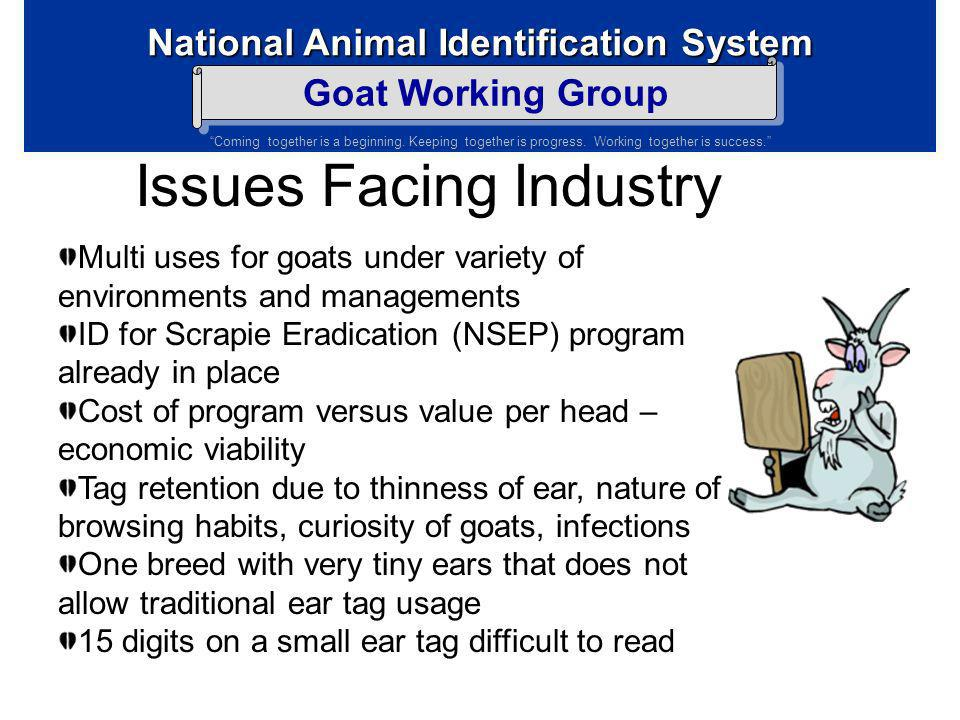 National Animal Identification System Goat Working Group Coming together is a beginning. Keeping together is progress. Working together is success. Di
