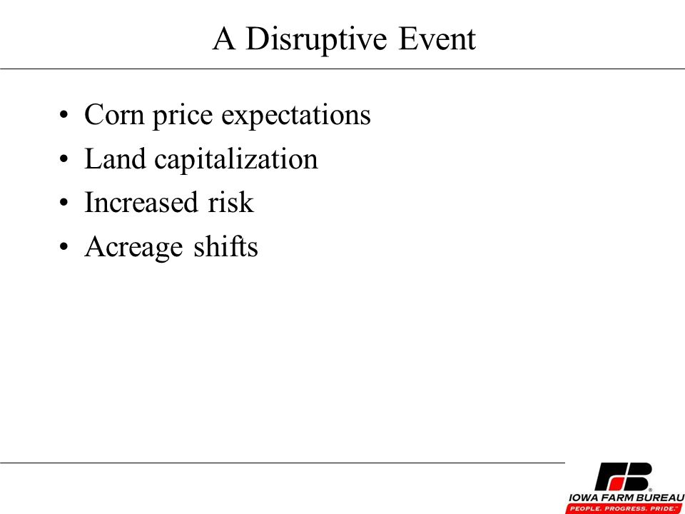 A Disruptive Event Corn price expectations Land capitalization Increased risk Acreage shifts
