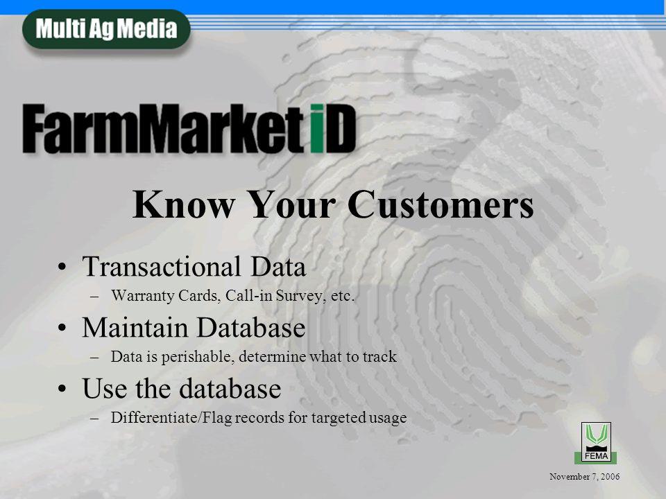 November 7, 2006 Value of Maintaining Your Database Advertise to your KEY prospects –Shotgun (mass media) vs.