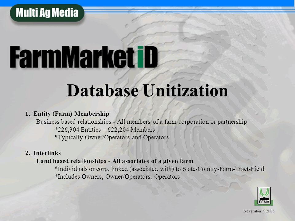 November 7, 2006 Database Unitization 1. Entity (Farm) Membership Business based relationships - All members of a farm corporation or partnership *226