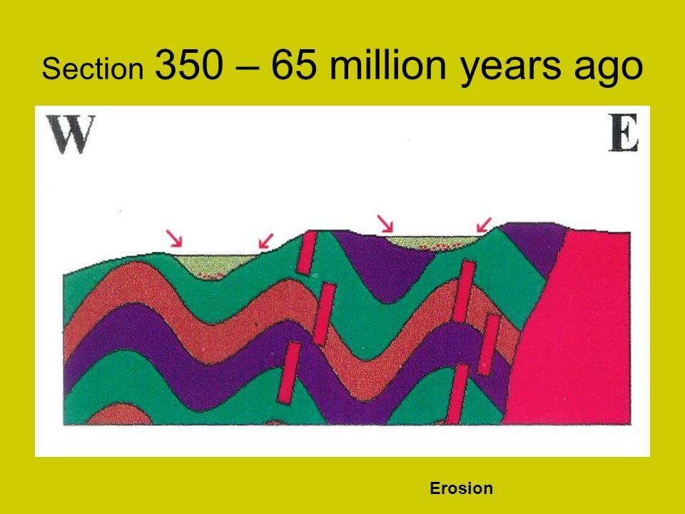 Map 65 million years ago - Hills of 500 million year old rocks Flat plain