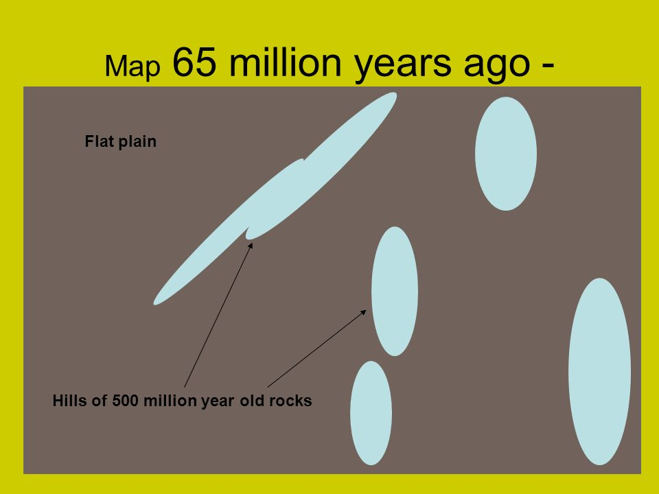 Map 65 million years ago - Hills of 500 million year old rocks Flat plain