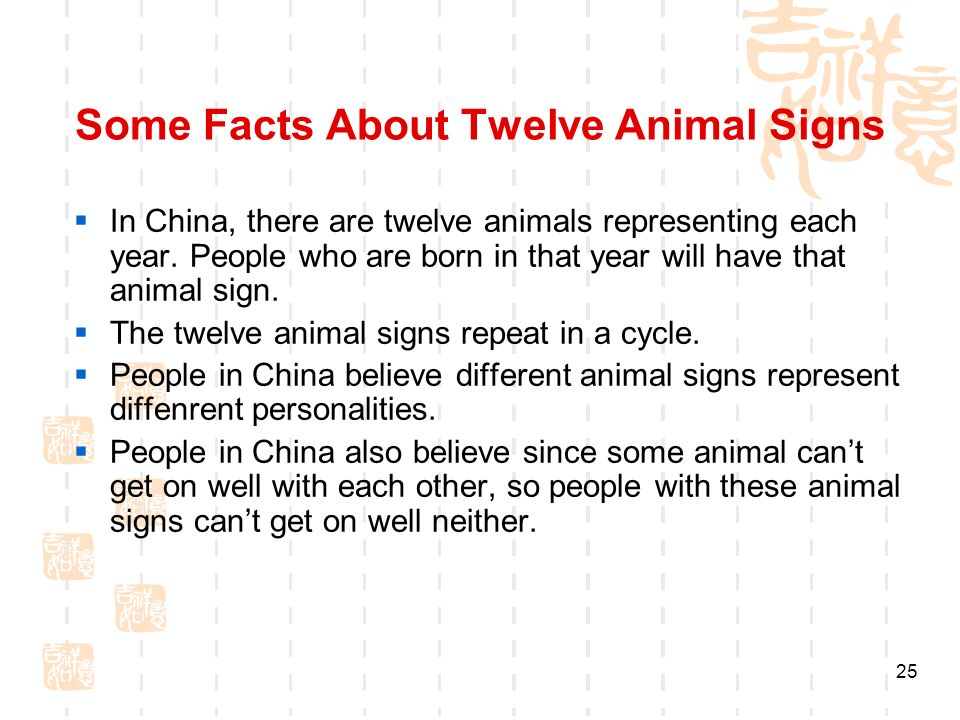 Some Facts About Twelve Animal Signs In China, there are twelve animals representing each year.