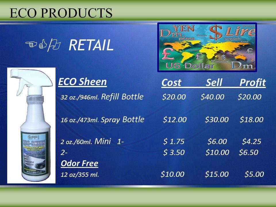 ECO RETAIL 32 oz./946ml. Refill Bottle $20.00 $40.00 $20.00 16 oz./473ml. Spray Bottle $12.00 $30.00 $18.00 2 oz./60ml. Mini 1- $ 1.75 $6.00 $4.25 2-