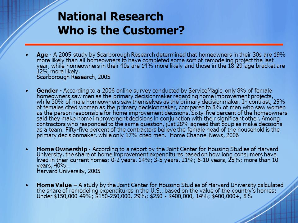 T-2 Phoenix Market Research Age of Potential Cosmetic Home Improvement Customer All local research sourced to Scarborough