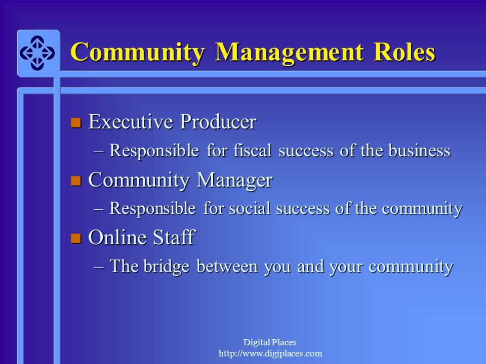Digital Places http://www.digiplaces.com Community Management Roles n Executive Producer –Responsible for fiscal success of the business n Community Manager –Responsible for social success of the community n Online Staff –The bridge between you and your community
