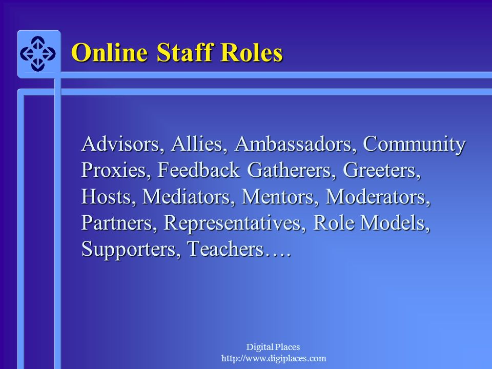 Digital Places http://www.digiplaces.com Online Staff Roles Advisors, Allies, Ambassadors, Community Proxies, Feedback Gatherers, Greeters, Hosts, Mediators, Mentors, Moderators, Partners, Representatives, Role Models, Supporters, Teachers….