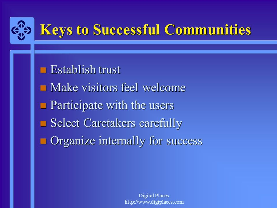 Digital Places http://www.digiplaces.com Keys to Successful Communities n Establish trust n Make visitors feel welcome n Participate with the users n Select Caretakers carefully n Organize internally for success