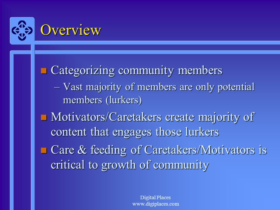 www.digiplaces.com Overview n Categorizing community members –Vast majority of members are only potential members (lurkers) n Motivators/Caretakers create majority of content that engages those lurkers n Care & feeding of Caretakers/Motivators is critical to growth of community