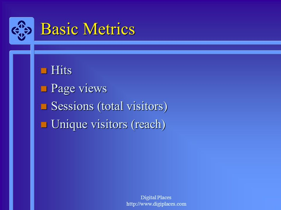 Digital Places http://www.digiplaces.com Basic Metrics Hits Hits Page views Page views Sessions (total visitors) Sessions (total visitors) Unique visitors (reach) Unique visitors (reach)