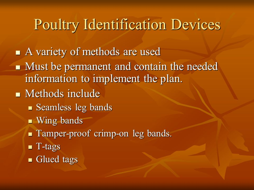 Poultry Identification Devices A variety of methods are used A variety of methods are used Must be permanent and contain the needed information to implement the plan.