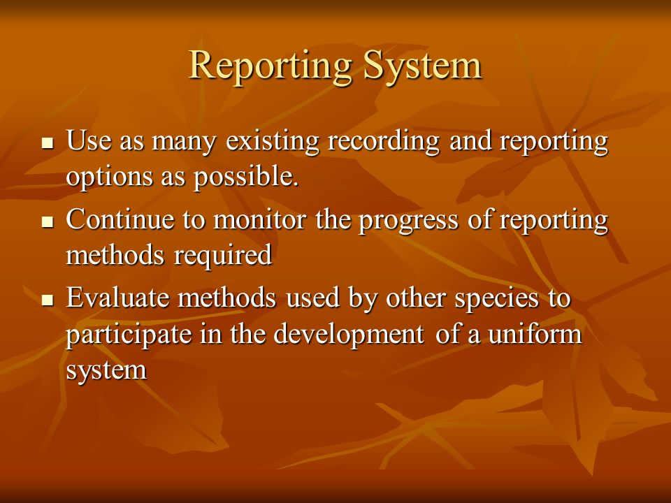 Reporting System Use as many existing recording and reporting options as possible. Use as many existing recording and reporting options as possible. C