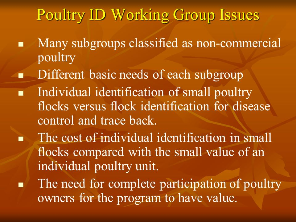 Poultry ID Working Group Issues Many subgroups classified as non-commercial poultry Different basic needs of each subgroup Individual identification of small poultry flocks versus flock identification for disease control and trace back.