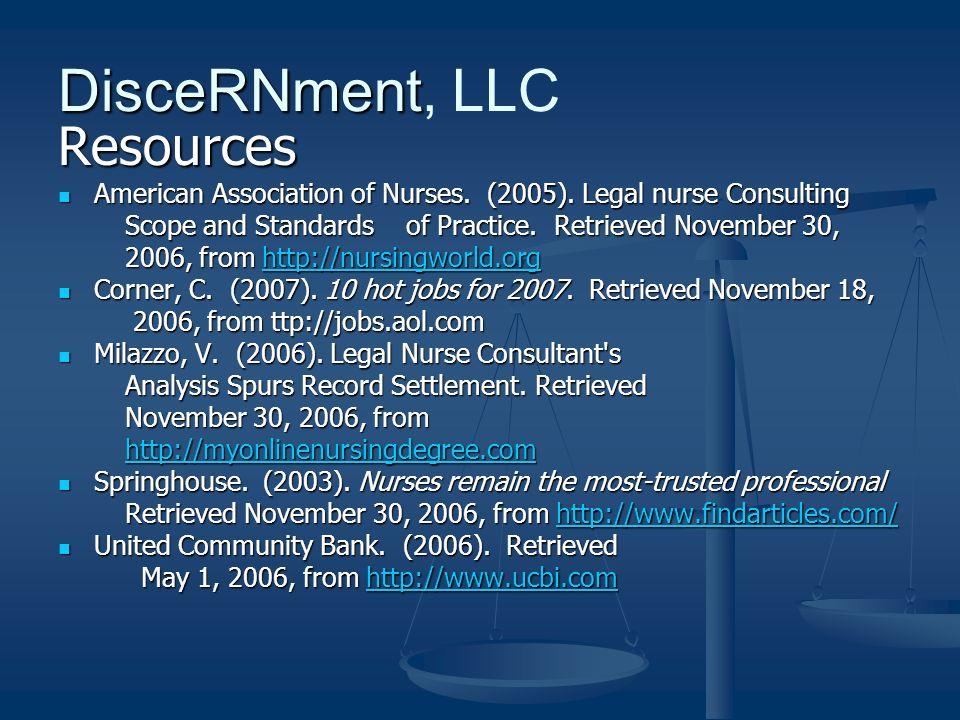 Resources American Association of Nurses. (2005).