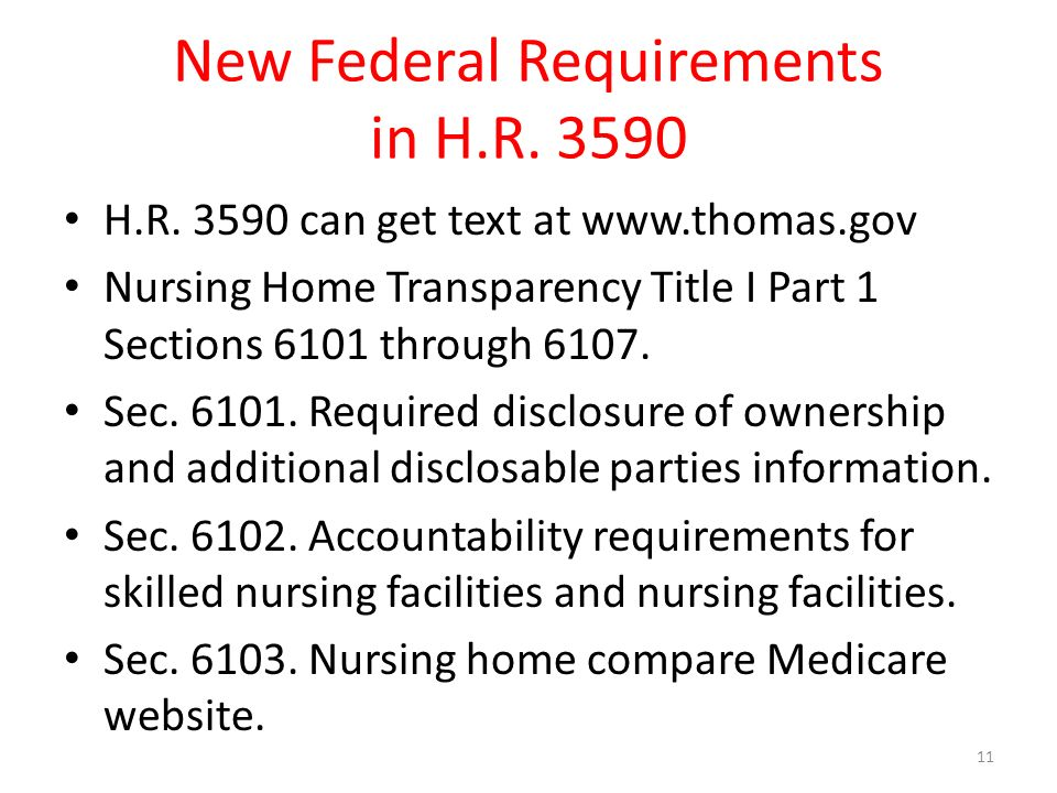 New Federal Requirements in H.R H.R.