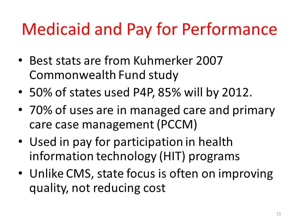 Medicaid and Pay for Performance Best stats are from Kuhmerker 2007 Commonwealth Fund study 50% of states used P4P, 85% will by 2012.
