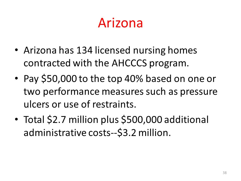 Arizona Arizona has 134 licensed nursing homes contracted with the AHCCCS program.
