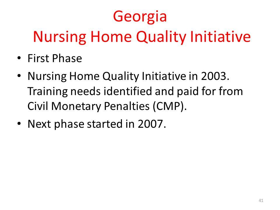Georgia Nursing Home Quality Initiative First Phase Nursing Home Quality Initiative in 2003.