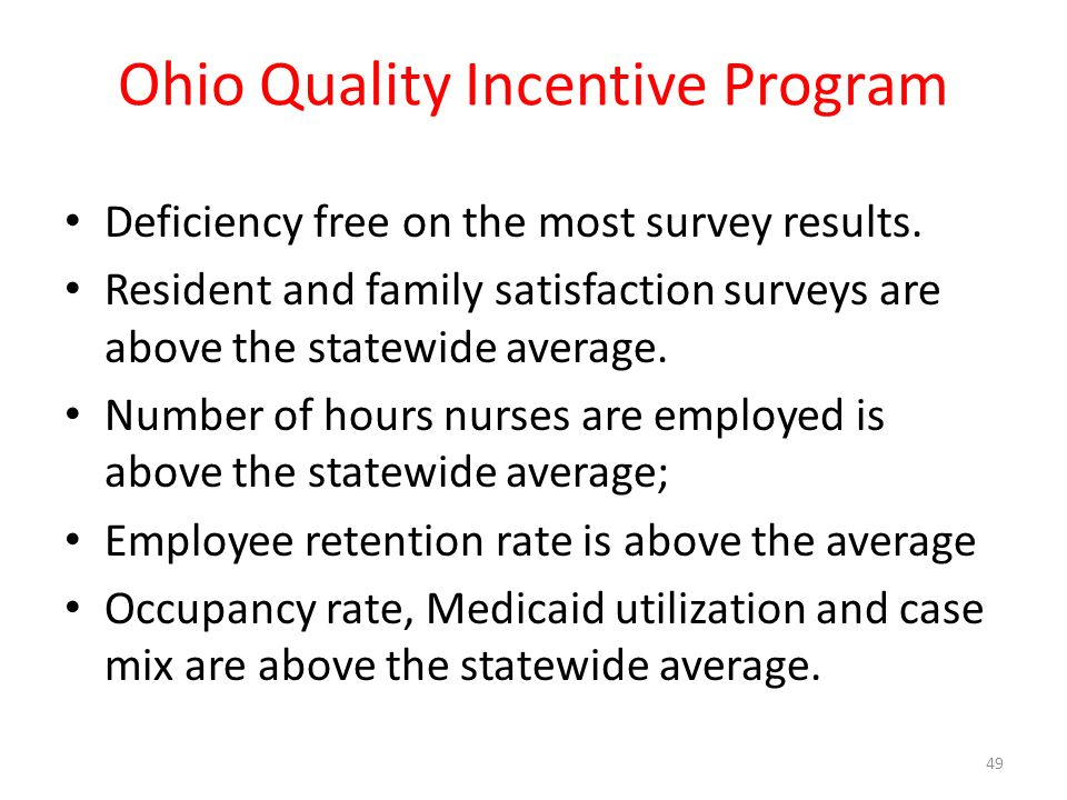 Ohio Quality Incentive Program Deficiency free on the most survey results.