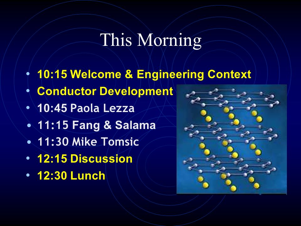 This Morning 10:15 Welcome & Engineering Context Conductor Development 10:45 Paola Lezza 11:15 Fang & Salama 11:30 Mike Tomsic 12:15 Discussion 12:30 Lunch