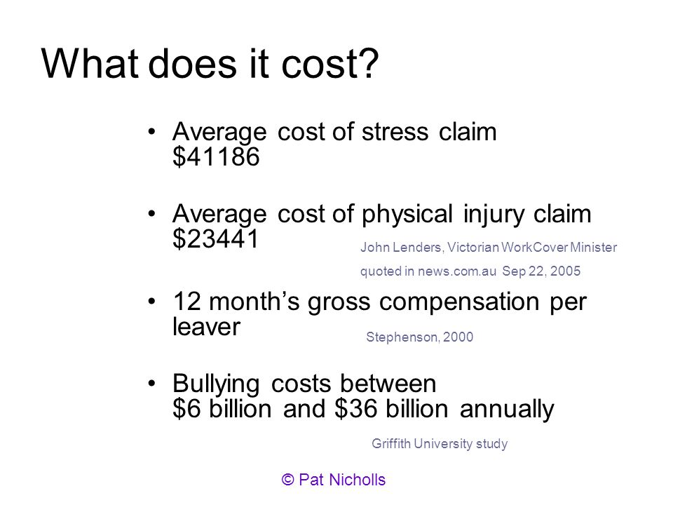 What does it cost? Average cost of stress claim $41186 Average cost of physical injury claim $23441 12 months gross compensation per leaver Bullying c