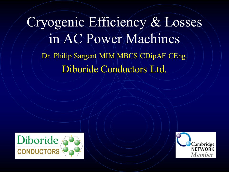 Cryogenic Efficiency & Losses in AC Power Machines Dr.