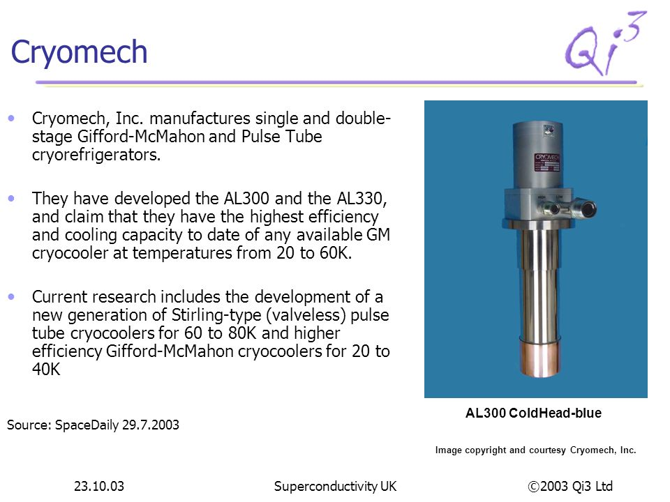 ©2003 Qi3 Ltd 23.10.03Superconductivity UK Cryomech Cryomech, Inc. manufactures single and double- stage Gifford-McMahon and Pulse Tube cryorefrigerat