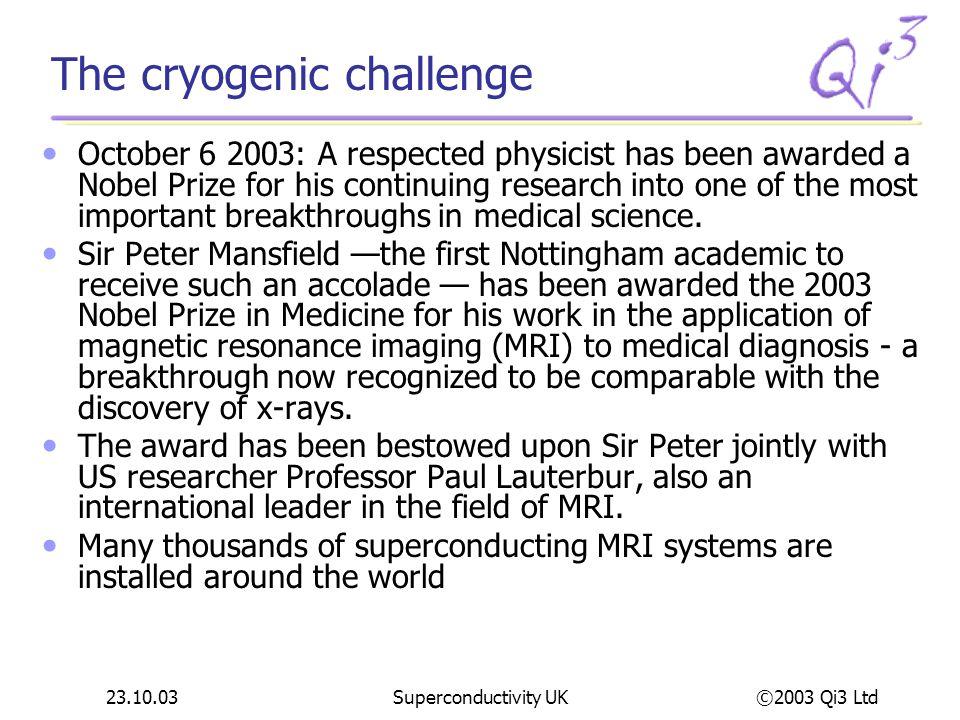 ©2003 Qi3 Ltd 23.10.03Superconductivity UK Cryomech Cryomech, Inc.