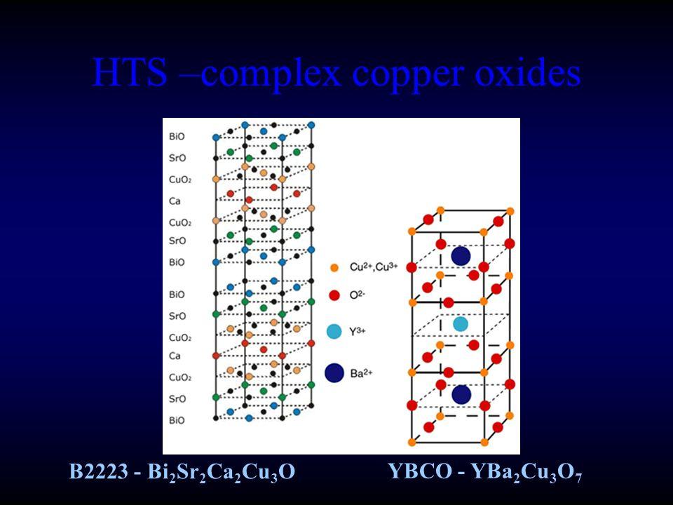 HTS –complex copper oxides B2223 - Bi 2 Sr 2 Ca 2 Cu 3 O YBCO - YBa 2 Cu 3 O 7