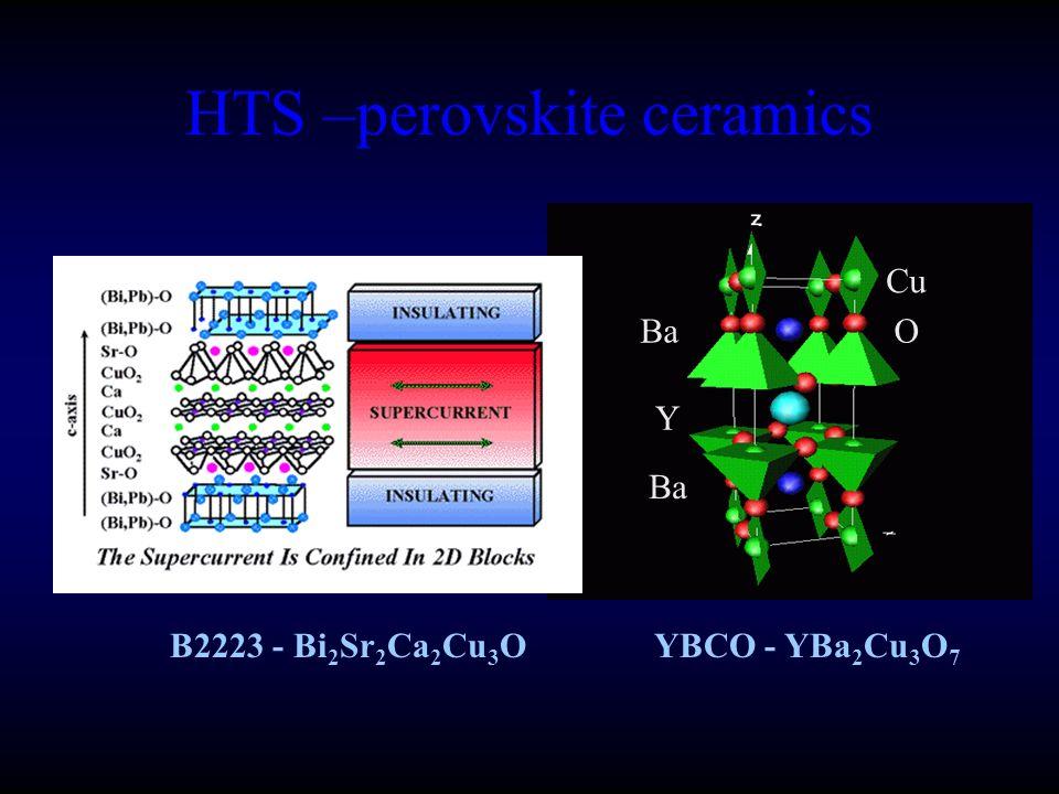 HTS –perovskite ceramics Cu OBa Y YBCO - YBa 2 Cu 3 O 7 B2223 - Bi 2 Sr 2 Ca 2 Cu 3 O