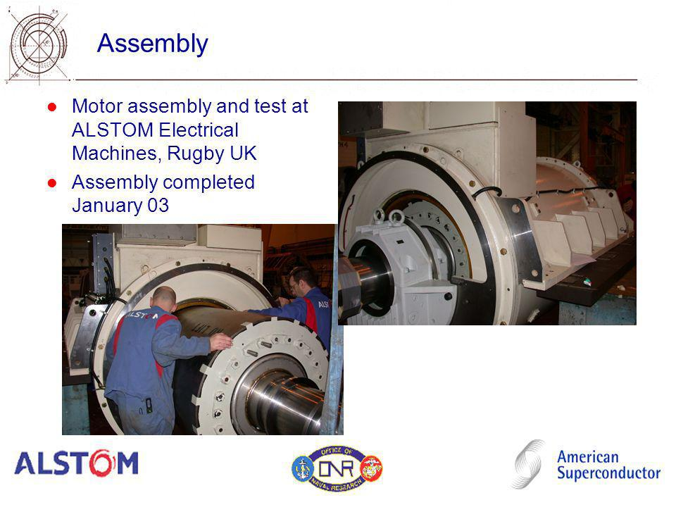 Assembly Motor assembly and test at ALSTOM Electrical Machines, Rugby UK Assembly completed January 03