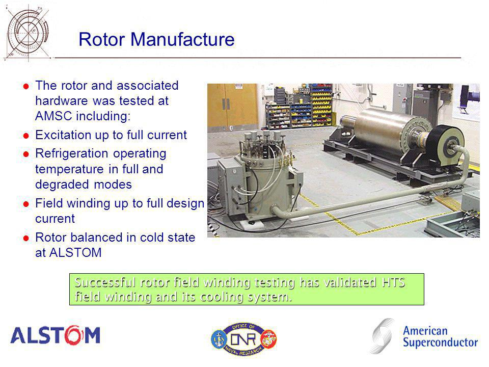 The rotor and associated hardware was tested at AMSC including: Excitation up to full current Refrigeration operating temperature in full and degraded