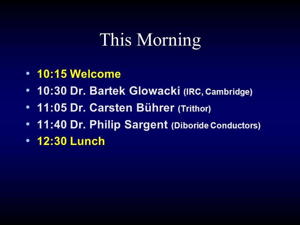 Afternoon 14:00 Gareth Evans (OFGEM) 14:25 Philip Sargent (Diboride Conductors) 14:55 David Klaus (V A Tech) 15:15 Peter Malkin (Rolls-Royce) 15:35 Discussion and Close 15:45 Tea