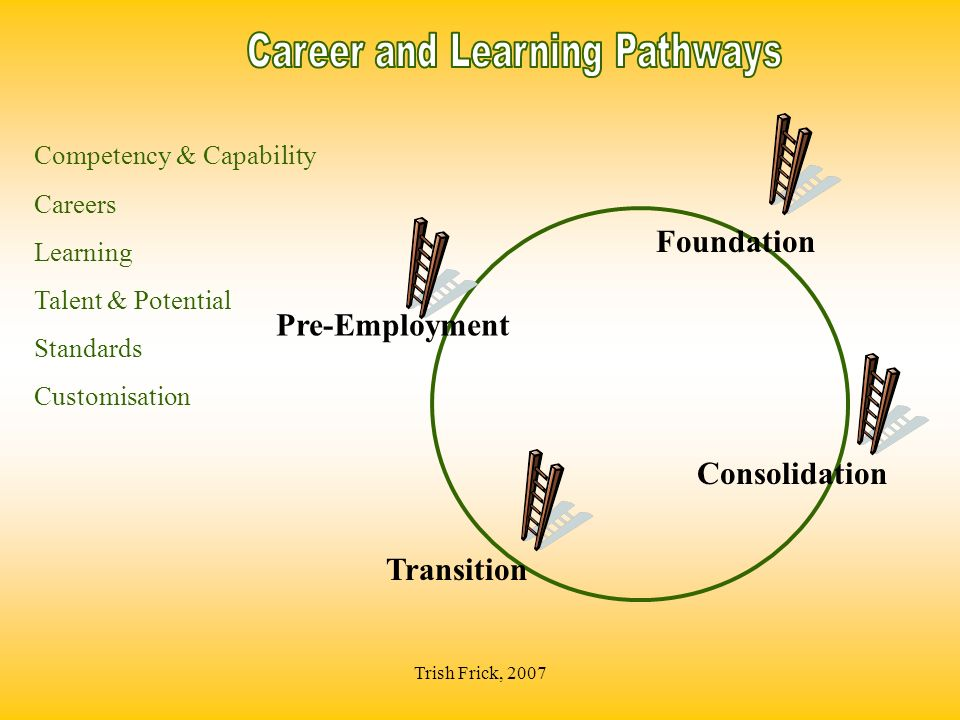 Trish Frick, 2007 Consolidation Competency & Capability Careers Learning Talent & Potential Standards Customisation Transition Pre-Employment Foundati