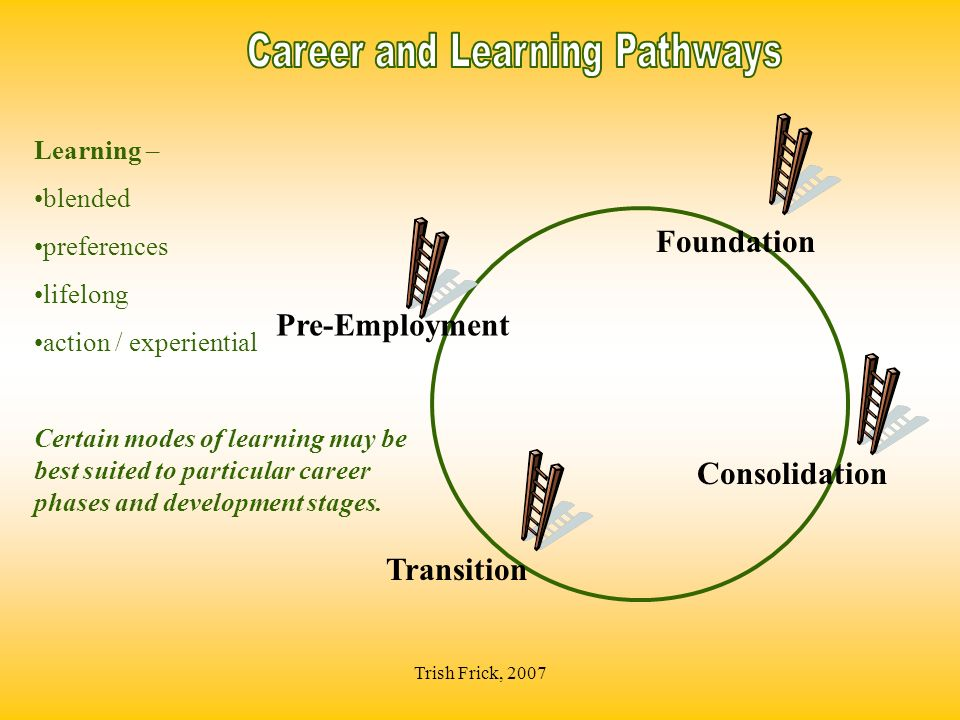 Trish Frick, 2007 Consolidation Learning – blended preferences lifelong action / experiential Certain modes of learning may be best suited to particular career phases and development stages.