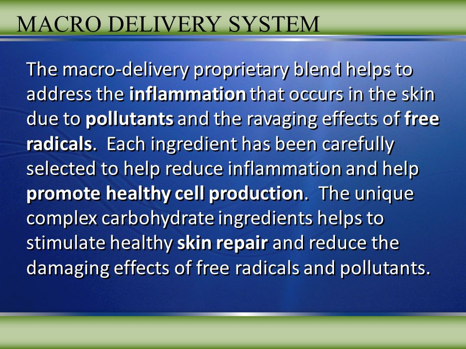 The macro-delivery proprietary blend helps to address the inflammation that occurs in the skin due to pollutants and the ravaging effects of free radicals.