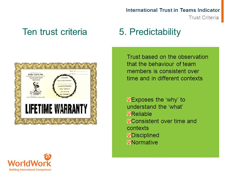 International Trust in Teams Indicator Ten trust criteria 5. Predictability Trust based on the observation that the behaviour of team members is consi