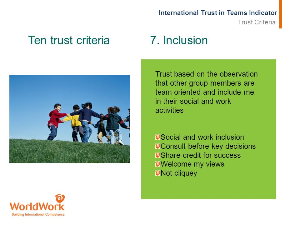 International Trust in Teams Indicator Ten trust criteria 7.