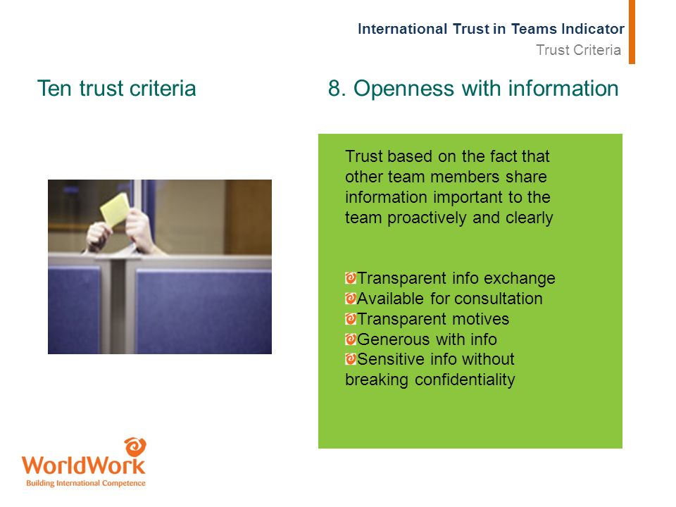 International Trust in Teams Indicator Ten trust criteria 8.