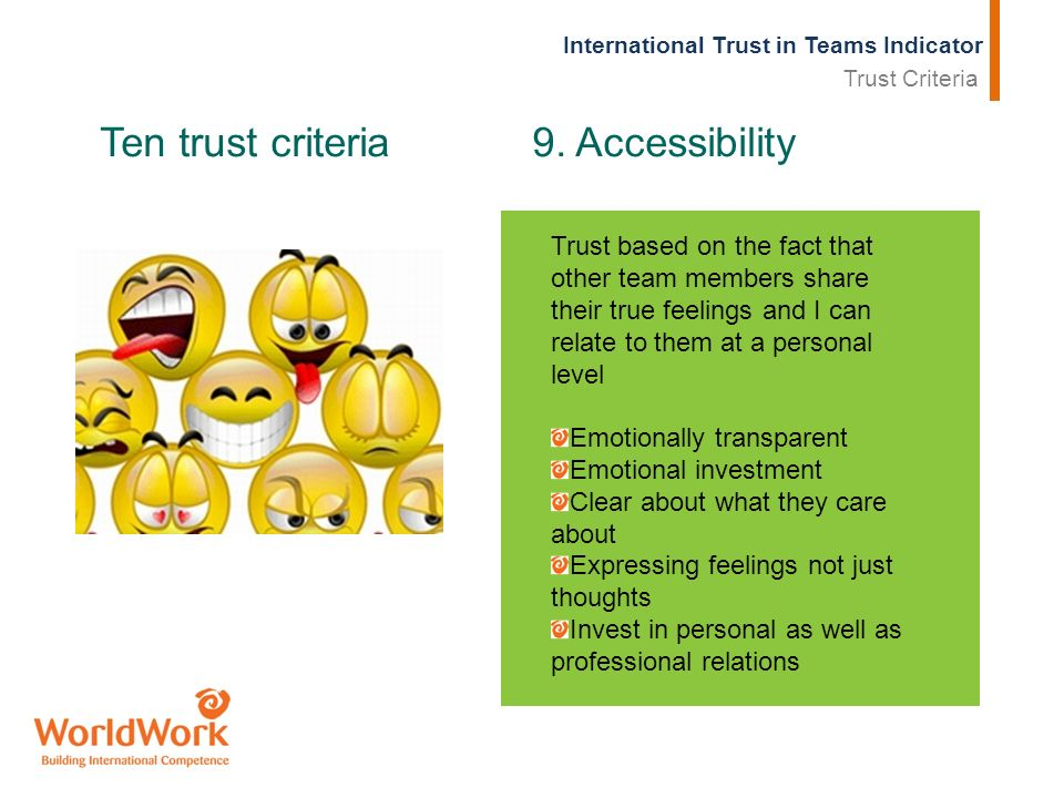 International Trust in Teams Indicator Ten trust criteria 9. Accessibility Trust based on the fact that other team members share their true feelings a