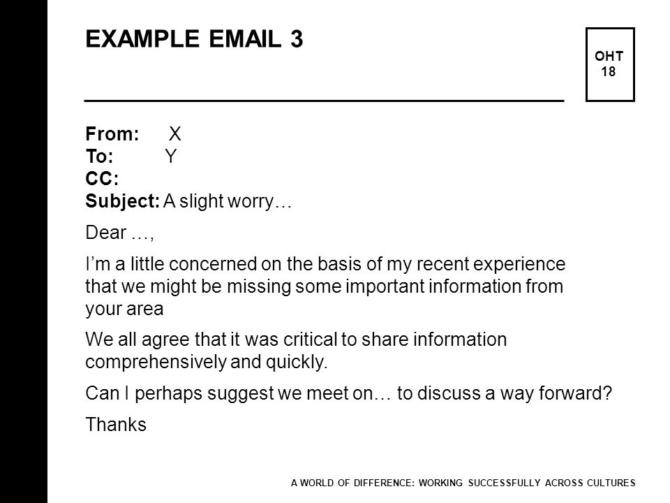EXAMPLE EMAIL 3 OHT 18 From: X To: Y CC: Subject: A slight worry… Dear …, Im a little concerned on the basis of my recent experience that we might be