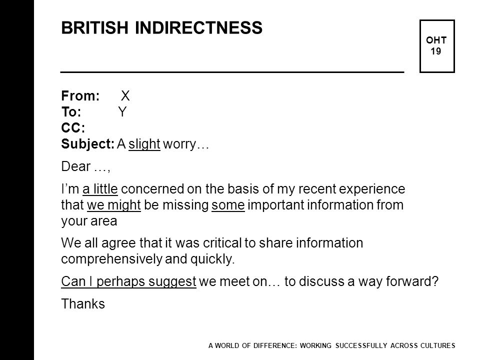 BRITISH INDIRECTNESS OHT 19 From: X To: Y CC: Subject: A slight worry… Dear …, Im a little concerned on the basis of my recent experience that we migh