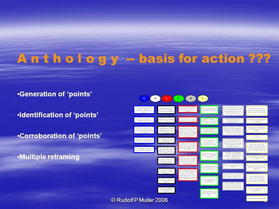 © Rudolf P Muller 2006 6 A n t h o l o g y -- basis for action .